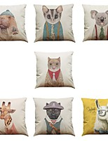 Set of 7 Cute animal pattern Linen  Cushion Cover Home Office Sofa Square  Pillow Case Decorative Cushion Covers Pillowcases