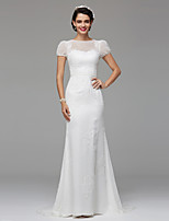 LAN TING BRIDE Trumpet / Mermaid Wedding Dress Simply Sublime Sweep / Brush Train Jewel Lace Tulle with Draped Lace