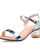 Sandalen-Büro Kleid Lässig-Leder-Blockabsatz Kristallabsatz-Club-Schuhe-Blau Gold
