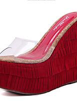 Habillé-Noir Rouge Café-Talon Compensé-Confort-Chaussures à Talons-Gomme