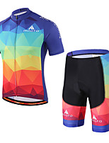 Miloto Cycling Jersey with Shorts Unisex Short Sleeve BikeBreathable Quick Dry Reflective Strips Sweat-wicking Lightweight Materials 3D
