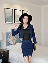 Real shot! Wave spring sexy beaded denim jacket + Slim package hip denim skirt suit Nett