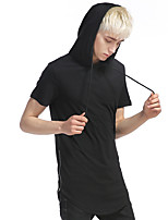 Men's Summer Fashion Solid Hooded Casual Short Sleeve T-shirt  Casual/Daily Simple