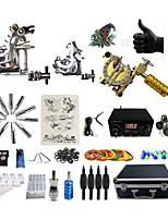 Komplettes Tattoo Kit 2 x Stahl-Tattoomaschine für Umrißlinien und Schattierung 1 x-Legierung Tattoo Maschine für Futter und Schattierung
