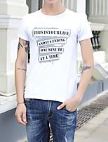 Tee-shirt Homme,Lettre Vacances Sortie Soirée / Cocktail simple Chic de Rue Actif Toutes les Saisons Manches Courtes Col ArrondiCoton