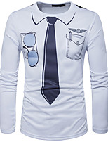 Herrn Druck Einfarbig Einfach Lässig/Alltäglich T-shirt,Rundhalsausschnitt Frühling Sommer Langarm Weiß Baumwolle Mittel