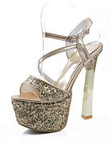 Sandalen-Büro Kleid Party & Festivität-Kunststoff-Blockabsatz-Fersenriemen-Rot Silber Gold