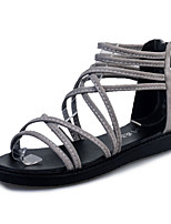 Sandalen-Lässig-PU-Flacher Absatz-Komfort-Schwarz Grau