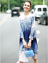 Women's Going out Cute A Line Dress,Print Round Neck Knee-length Long Sleeve Silk Spring Summer Mid Rise Micro-elastic Medium