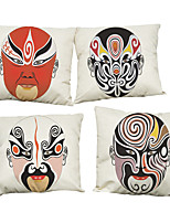 Set of 4 Peking Opera Facial Masks  pattern  Linen Pillowcase Sofa Home Decor Cushion Cover