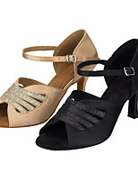 Women's Latin Silk Sandals Performance Criss Cuban Heel Nude Black 2 - 2 3/4 3 - 3 3/4 Customizable