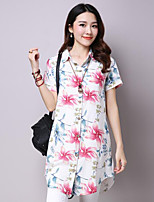 Women's Casual/Daily Cute Street chic Spring Summer Shirt,Floral Shirt Collar Sleeveless Cotton Thin
