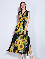 MARY YAN&YU Women's Going out Cute Swing DressFloral V Neck Midi Sleeveless Yellow Polyester Spandex Spring Summer Mid Rise Micro-elastic Medium