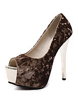 Heels Spring Summer Fall Comfort Leatherette Office & Career Party & Evening Dress Stiletto Heel Black Almond