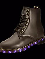 Черный КоричневыйДля прогулок-Полиуретан-На низком каблуке-Light Up обувь Пара обуви-Ботинки