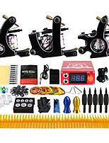 Kit de tatouage complet 3 x Machine à tatouer en fonte pour le traçage et l'ombrage 3 Machines de tatouage Encres expédiés séparément