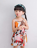 Girl's Beach Print Patchwork Dress,Cotton Summer Spring Sleeveless