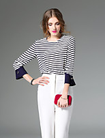 Women's Going out Simple Spring Summer Shirt,Striped Round Neck Long Sleeve Special Leather Types