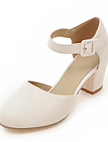 Sandals Summer D'Orsay & Two-Piece Leatherette Wedding Office & Career Dress Chunky Heel Buckle Blue Pink White Beige