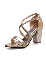 Women's Sandals Summer Fall Club Shoes PU Wedding Office & Career Dress Chunky Heel Buckle