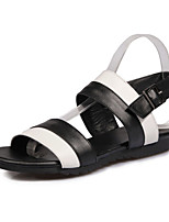 Women's Sandals Spring Summer Leatherette Casual Flat Heel Black/White White/Yellow