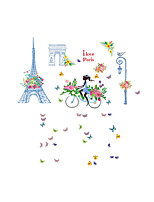 Wall Stickers Wall Decals Style Eiffel Tower Street Girl PVC Wall Stickers