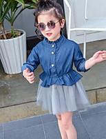 Vestido Chica de Retazos Algodón Manga Larga Verano