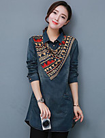 Women's Casual/Daily Vintage Street chic Spring Fall Shirt,Color Block Shirt Collar Long Sleeve Blue Cotton Medium