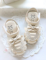Baby Flats Summer First Walkers Leatherette Outdoor Casual Low Heel Magic Tape White Beige Pink Walking