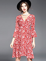 OYCP Women's Flare Sleeve Going out Cute Swing DressFloral V Neck Knee-length Long Sleeve Silk Spring Summer Mid Rise Micro-elastic Medium