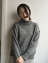 su coréen chic de gris pull à manches longues à col haut couverture femelle lâche