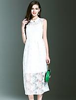 Для женщин На выход На каждый день Праздник Простое Уличный стиль Изысканный А-силуэт Платье Однотонный Вышивка,Круглый вырезСредней