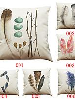 6 pcs Lin Housse de coussin Taie d'oreiller,Solide Texturé Géométrique Traditionnel/Classique Soutenir Plage