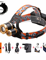 U'King® ZQ-G808GO#1-UK 3 * CREE XML-T6 6000LM 4Mode Zoomable Headlamp Kit