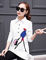 de mangas compridas camisa branca feminino fã coreano solta selvagem 2017 Primavera coreano camisa parágrafo longo