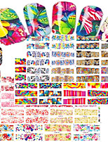 1set 48pcs Mixed Nail Art Watermark Sticker Beautiful Flower&Butterfly Leopard Design Nail Set Water Transfer Decals BN73-120