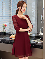 Sign Hitz long-sleeved women's large size was thin lace stitching waist dress spring and autumn bottoming a word