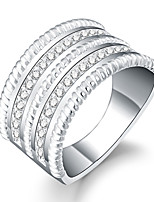 Ring Zircon Cubic Zirconia Silver Plated Round Silver Jewelry Daily Casual 1pc