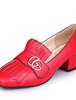 Mujer-Tacón Robusto Talón de bloque-Confort-Tacones-Oficina y Trabajo Vestido-PU-Dorado Plateado Rojo