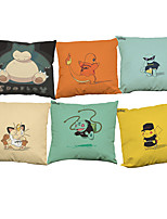 Set of 6 Pikachu pattern Linen Pillowcase Sofa Home Decor Cushion Cover (18*18inch)