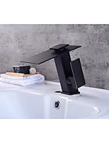 Contemporain Set de centre Cascade with  Soupape céramique Mitigeur un trou for  Bronze huilé , Robinet lavabo
