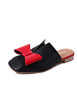 Sandals Spring Summer Fall Comfort PU Casual Low Heel Bowknot Black White
