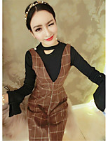Sign 2017 horn sleeve bottoming shirt + plaid dress suit