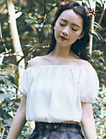 Tee-shirt Femme,Couleur Pleine Sortie Décontracté / Quotidien Sexy Mignon Eté Manches Courtes Bateau Coton Fin