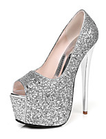 Heels Spring Summer Fall Winter Club Shoes Synthetic Wedding Party & Evening Dress Stiletto Heel Sequin Silver Gold