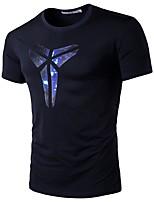 Tee-shirt Homme,Imprimé Décontracté / Quotidien Sportif Grandes Tailles simple Actif Eté Manches Courtes Col Arrondi Bleu Noir Coton Fin
