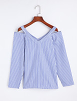 Women's Going out Simple Spring Summer T-shirt,Striped Round Neck Long Sleeve Cotton