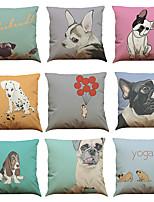 Set of 9 French Bulldogs  pattern Linen Pillowcase Sofa Home Decor Cushion Cover