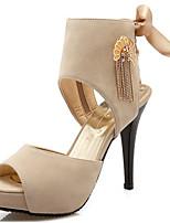 Women's  Sandals Summer Gladiator Novelty Velvet Party & Evening Dress Casual Stiletto Heel Zipper Lace-up Tassel Black Almond