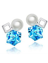 Drop Earrings Crystal Pearl Crystal Square Geometric Dark Blue Purple Jewelry For Daily Casual 1 pair